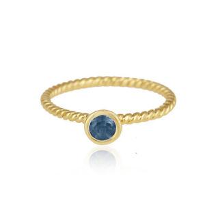 London Blue Topaz Gemstone 925 Silver Twisted Wire Design Handmade Ring