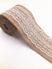 2M Lace Burlap Ribbon Natural Jute Hessian Wedding Party width 6cm white