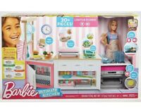 Barbie Ultimate Kitchen w/ Chef Doll Lights/Sounds Dough 20+ piece New Sealed