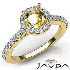 Diamond Engagement Prong Setting Ring 18k Yellow Gold Round Semi Mount 0.50Ct