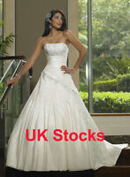 Elegant Taffeta Wedding Dresses Bridal Gowns Size 8 10 12 14 16 UK Stock