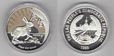 LAOS - COLORED SILVER PROOF 3000 KIP COIN 1999 YEAR KM#73  ANTICIPATION RABBIT