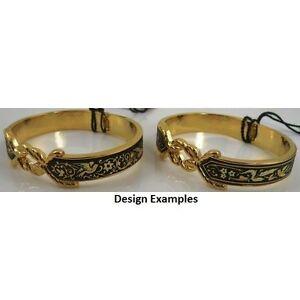 Damascene Gold Cuff Bracelet Dove of Peace design by Midas of Toledo Spain