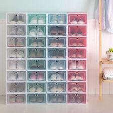 12PCS Shoe Storage Box Case Sneaker Organizer Stackable Plastic Transparent US