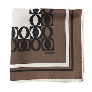 New $190 TOM FORD Brown and Ivory Contrast Print Silk Pocket Square