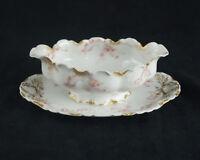 Haviland Limoges Gravy Sauce Boat Antique France Schleiger 475 J Gold Pink Roses