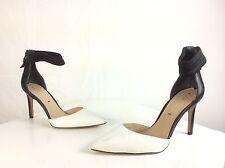 Via Spiga Women's Black And White Leather Strappy Pointy Toe Stiletto Heels  6M
