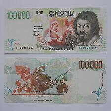 RIPRODUZIONE 100.000 LIRE CARAVAGGIO II FDS BANCONOTA LIRA ITALIANA 100000 LOTTO