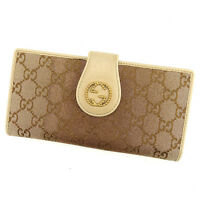 Gucci Wallet Purse Long Wallet G logos Beige Brown Woman Authentic Used T867