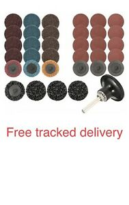 """35PCS/Set 2"""" Sanding Grinding Disc Pads W/ Holder For Air Grinder Rotary Tools"""