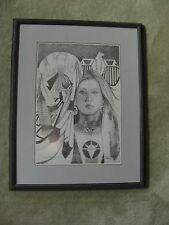 Pencil Drawing Print Native American Medicine Woman Museum Quality Framed Signed