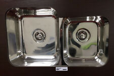 NEW Chrome kitchen/laundry sink. Double undermount sinks. One and 3/4.