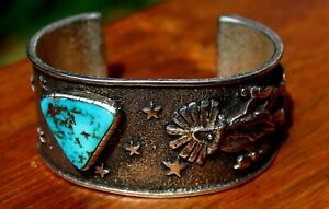 Philander Begay Sterling Silver Tufa Cast Turquoise Stone KACHINA Cuff Bracelet