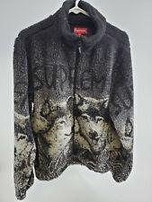 Supreme Wolf Fleece Jacket Zip Up Logo Black White Size Large