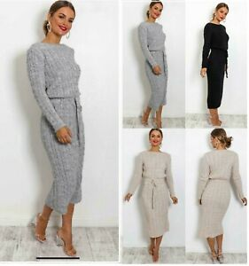 New Ladies&Women's Cable Knitted Pocket Tie up Long Midi Party Jumper Dress