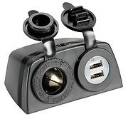 Power Socket 12V DC 2.1A and Double USB Socket Marine Black Car Boat Ipad Phone