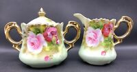 Vintage Lefton Creamer and Sugar Heritage Green with Pink Flowers 20-2231