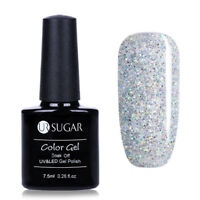 7.5ml Soak Off UV Gellack Weiß Glitzer Nail Art Gel Polish Nagellack UR SUGAR