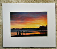 "Sunsetting on Long Beach, Vancouver Island Canada 12""x8"" Mounted Print photo art"