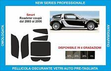 pellicole oscuranti vetri  smart roadster coupè dal 2003 al 2006  kit completo