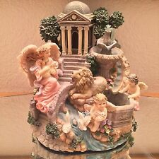 Angel Figurine Vintage Music Box Amazing Grace Water Fountain Lamb Lion Mountain
