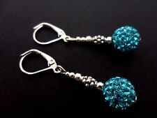 A PAIR OF DANGLY BLUE SHAMBALLA STYLE LEVERBACK HOOK EARRINGS.