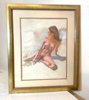 vintage original Ji Fis Chi nude lady woman acrylic realism painting on board