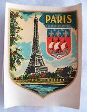 Décalcomanie PARIS TOUR EIFFEL Chromotransfert 1950/1960 VESPA SCOOTER AUTO