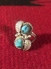 Silver & Turquoise Ring Size 6 Beautiful Navajo Indian Old Pawn Sterling