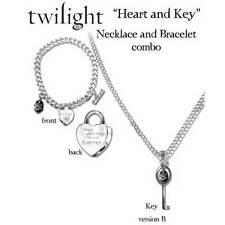 Twilight - Heart & Key Necklace and Bracelet Set Jewellery NEW NECA