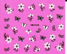 Nail Art 3D Glitter Decal Stickers Sparkle Butterflies & Flowers SMY229