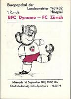 EC I 81/82 BFC Dynamo Berlin - FC Zürich, 16.09.1981