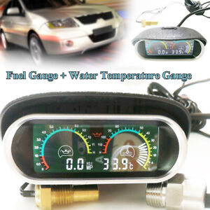Car LCD Digital Water Temp Oil Pressure Gauge Panel w/ Sensor for Truck 12V-24V