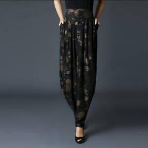 3XL Womens Silk Velvet Printed Harem Pants Wide Leg Loose Casual Trousers S843