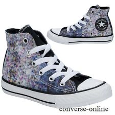 Kids Girls Boy CONVERSE All Star SPECKLED PRINT HI Blue Trainers Boot SIZE UK 11