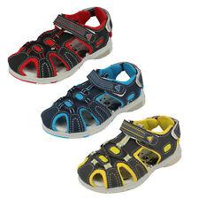 Boys Grey / Blue / Black Spot On Closed Toe Rip Tape Summer Sandals 7R58-1