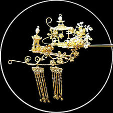 Exquisite Hand Made Carved Landscape View Golden Purls Hair Pin