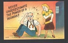Humor Postcard Never UNDERESTIMATE the Power of a Woman! Lady w/Wood Rolling Pin