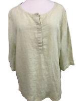 J Jill Love Linen Light Green White Striped Top XL 100% Linen Flowy 3/4 Sleeve