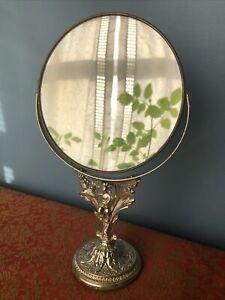 Vintage Cherub Angel w Bird Gold Swivel Vanity Dresser Table Makeup Mirror Stand