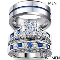2 Rings Couple Rings Stainless Steel Mens Ring CZ Sapphire Wedding Ring Sets