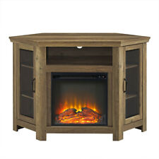 Corner Electric Fireplace Tv Cabinet Wooden Entertainment Media Console Stand