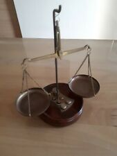 VINTAGE BRASS SCALE FOR GOLD  ON WOODEN STAND COMPLETE WITH WEIGHTS