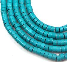 "4x2mm Blue Turquoise Heishi Beads 16"""