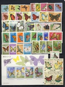 Butterflies and moths stamp collection mnh vf #2 on two pages with good values