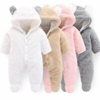 Newborn Baby Winter Hoodie Rompers Infant Clothes Girl Pink Outwear Boy Jumpsuit