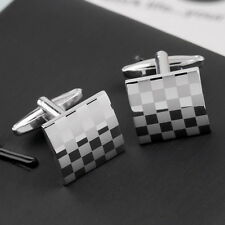 1 Pair Classical Square Vintage Men's Wedding Gift Grid Laser Cuff Links  VC