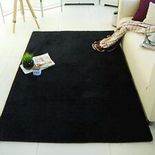 Super Soft Plush Fabric Solid Carpet Floor Rug Living Room Carpet Mats Black DH
