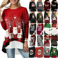 Ladies Chriatmas Santa Top Sweatshirt Longline Pullover T Shirt Blouse Plus Size