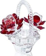 H&D Hyaline & Dora Crystal Red Rose Flower Basket Crystal Collectible Figurines